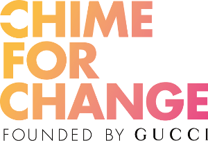 Gucci's online platform - supporting women and girls in developing countries.  A crowdfunding platform for people to donate funds to organizations and projects focused on the causes that matter most to them. Logo