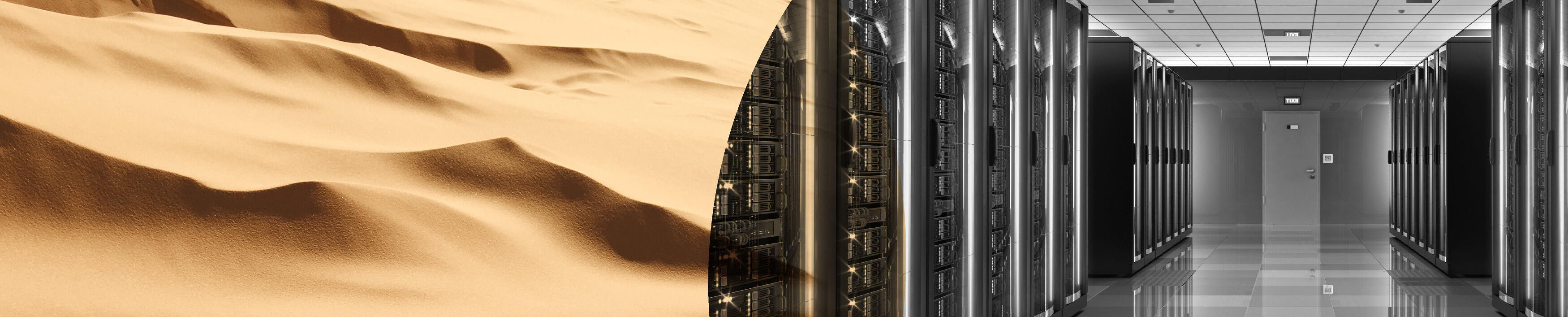 Image of desert overlaid with a data center