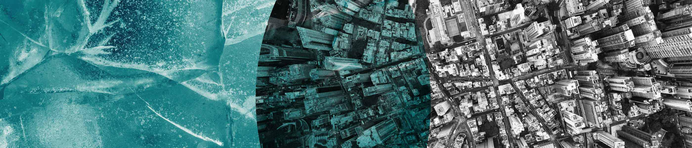 Overlapping photos of cracked ice and a towering city scape, seen from above