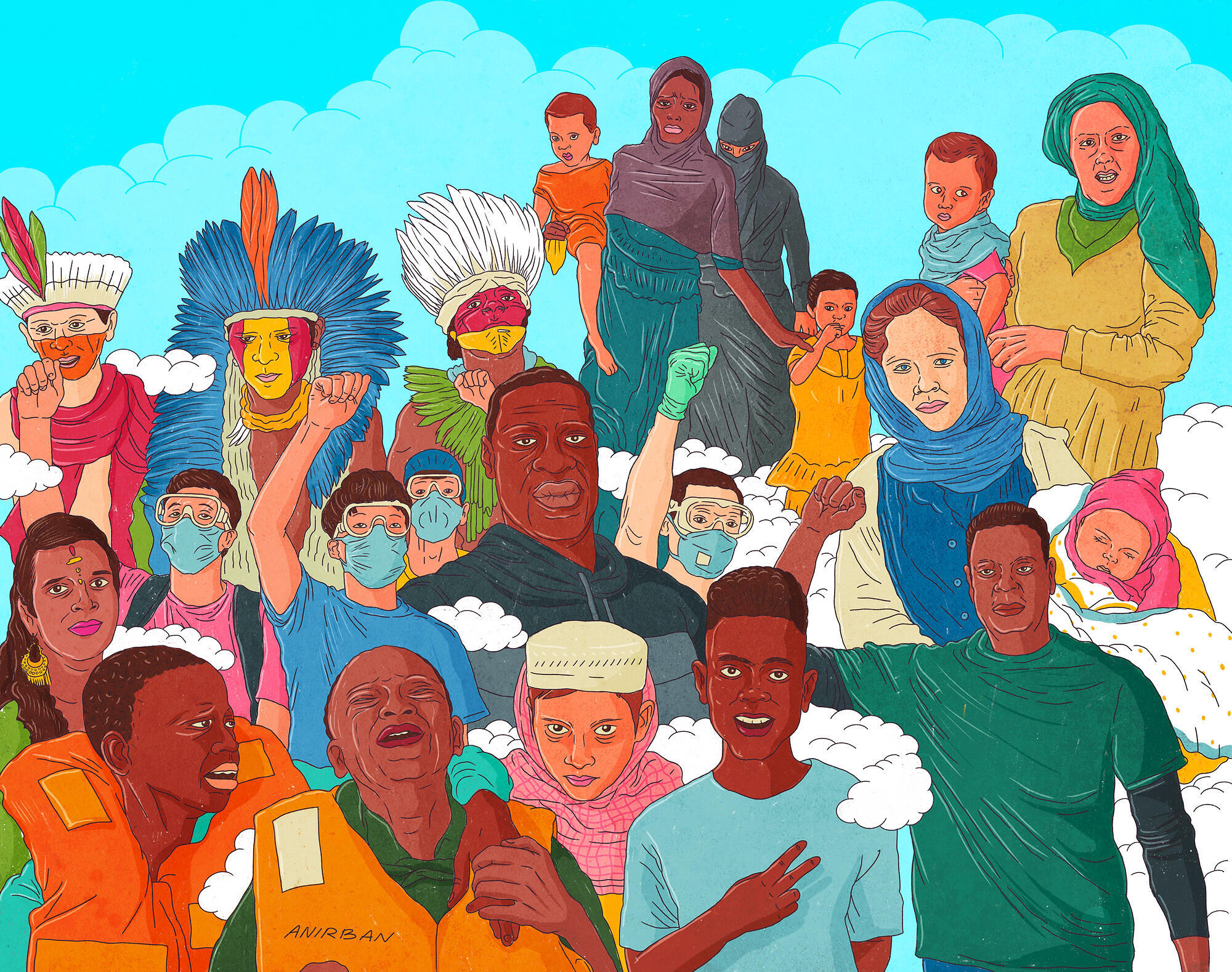 A hand drawn, vibrantly coloured illustration of many people, of different backgrounds, ages and races. Many of them wear surgical type masks, and they are raising their fists in solidarity, looking straight into your eyes..
