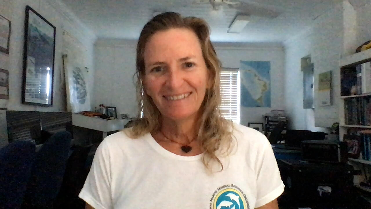 Charlotte Dunne, in her office in the Bahamas, smiling at us during a Zoom interview