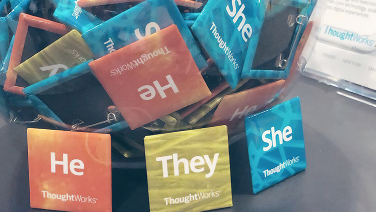 Image of He They She pronoun pins