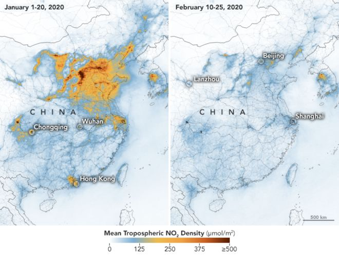 Nasa image showing COVID-19-related reduction in air pollution over China
