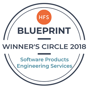 Winner's Circle in HFS Research's Software Product Engineering Services 2018 Report Badge