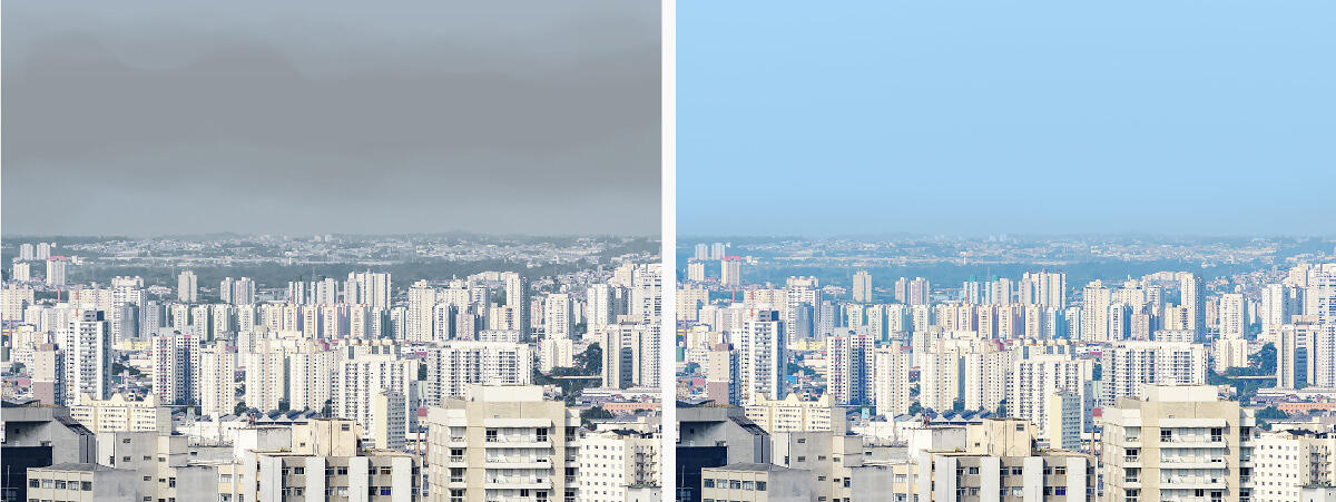 Images of Sao Paulo showing comparison of pollution in 2019/2020